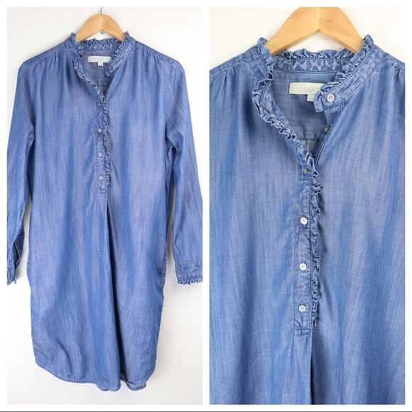 LOFT Dresses & Skirts - Loft Shirt Dress Denim Tencel Button Pullover